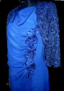 exklusives Kleid mit Raffelement und Spitzenbolero